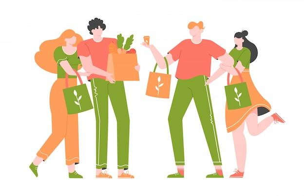 Gruppo di giovani, i millenial fanno shopping in un negozio senza plastica.