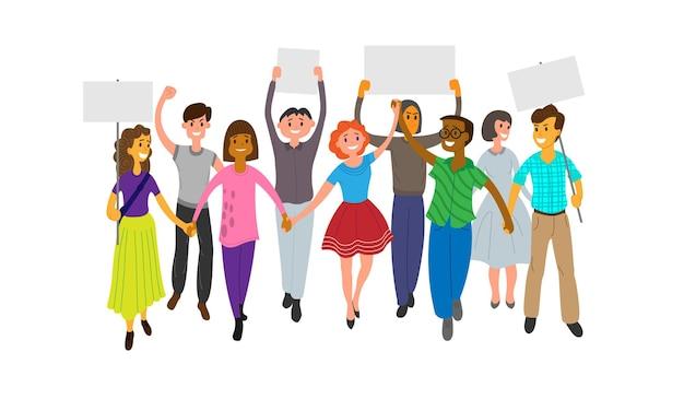 Un gruppo di giovani partecipa a una parata, un raduno o una manifestazione. uomini e donne si tengono per mano e alcuni tengono in mano dei poster. illustrazione vettoriale piatto su sfondo bianco.