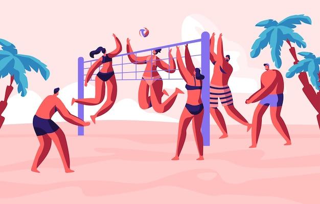 Gruppo di giovani che giocano a beach volley in riva al mare. attività di sport di caratteri maschii, femminili in luogo tropicale esotico sul tempo libero di vacanza di ora legale, illustrazione piana del fumetto di ricreazione
