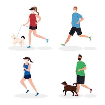 Gruppo di giovani che indossano mascherina medica, esercizio fisico con cani, prevenzione coronavirus covid 19