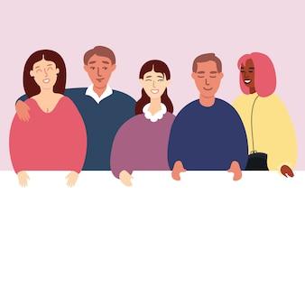 Gruppo di giovani con l'illustrazione piana dell'insegna in bianco