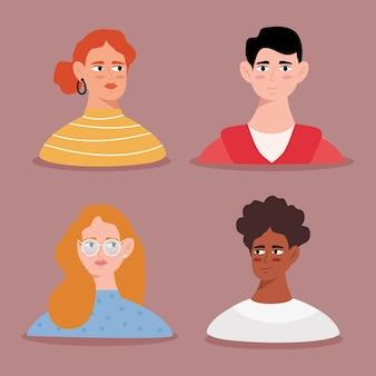 Gruppo di personaggi di avatar di giovani