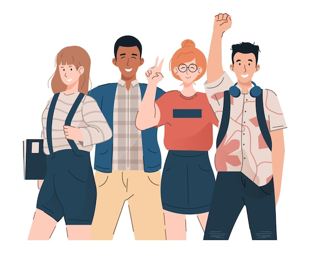 Gruppo di giovani studenti. ragazze e ragazzi felici in abiti casual