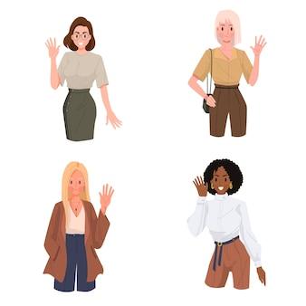Gruppo di giovane donna dice ciao o ciao con l'illustrazione di gesto della mano