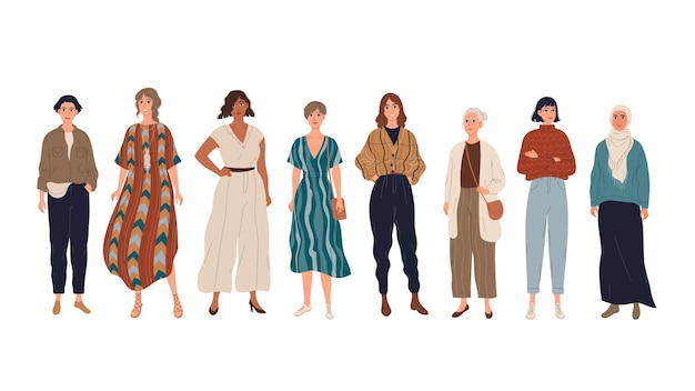 Gruppo di ragazze giovani donne in piedi a tutta altezza
