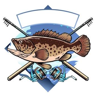 Design della camicia da pesca della cernia