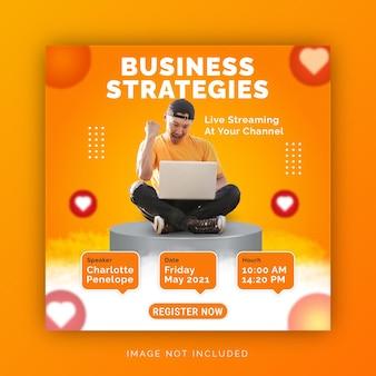 Fai crescere le strategie aziendali di business modello di post sui social media per banner pubblicitari di instagram