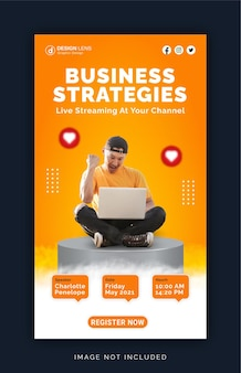 Fai crescere le strategie aziendali sui social media banner pubblicitario per instagram modello di post