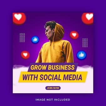 Fai crescere il business con il modello di banner pubblicitario instagram sui social media