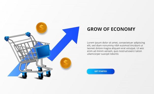 Crescere economia e mercato. illustrazione del carrello 3d e della freccia blu rialzista. shopping online e concetto di commercio elettronico.