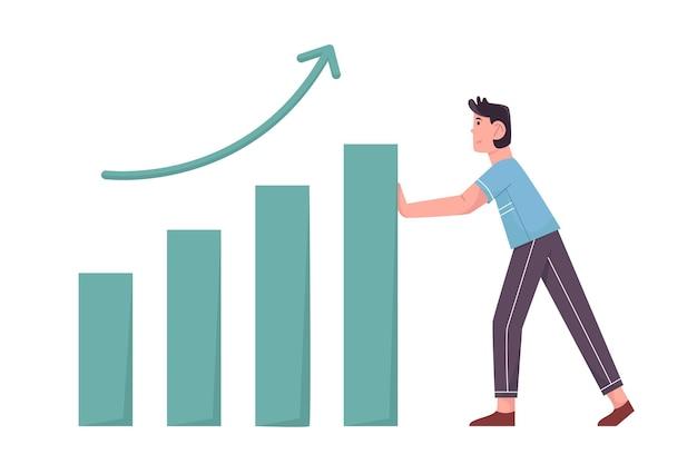 Crescere la statistica con l'uomo d'affari spinge quei dati