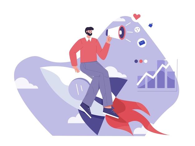 Fai crescere il tuo business con l'illustrazione piatta del marketing digitale