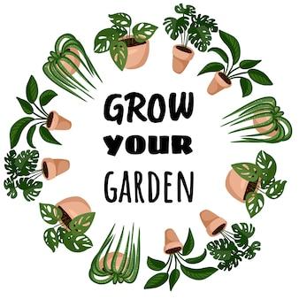 Fai crescere il tuo giardino in stile cartone animato, design carino ornamento ghirlanda. insieme di piante succulente in vaso hygge. accogliente collezione di piante in stile scandinavo lagom