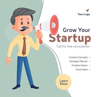 Fai crescere il tuo design di banner di avvio con un uomo d'affari che tiene un megafono
