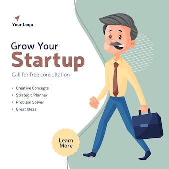 Fai crescere il tuo modello di progettazione banner aziendale di avvio