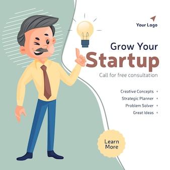 Fai crescere la tua chiamata di avvio per un modello di progettazione di banner di consulenza gratuita