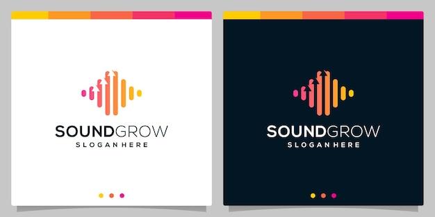 Freccia crescente con l'elemento di concetto del logo dell'onda audio sonora. vettore premium