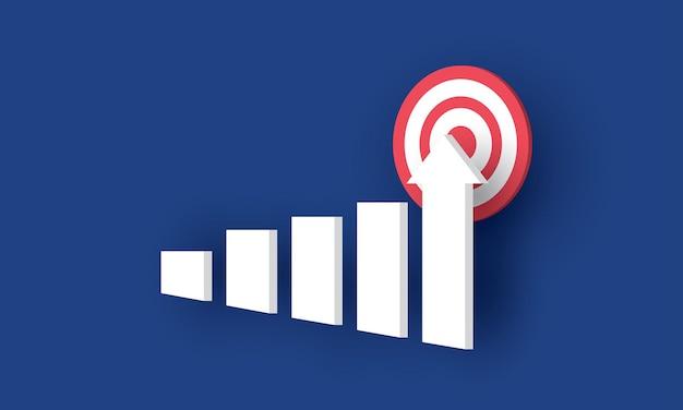 Grafico a barre in crescita con freccia grafico a barre in crescita attività di successo concetto ispirazione business