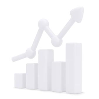 Grafico a barre in crescita con freccia in aumento. illustrazione
