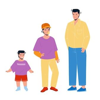 Ragazzo in crescita dal piccolo bambino all'uomo adulto vettore. ragazzo in crescita, bambino piccolo sorridente, adolescente di gomma da masticare e ragazzo adulto elegante. ciclo di vita del personaggio dal bambino all'illustrazione del fumetto piatto grande