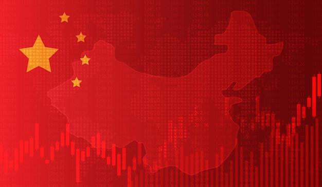 Grafico in crescita sullo sfondo del grafico a candela della bandiera cinese borsa del mercato azionario