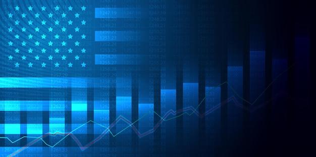 Grafico in crescita sullo sfondo del grafico a candela della bandiera usa america borsa del mercato azionario