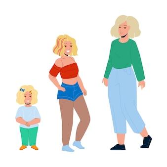 Ragazza in crescita da bambino piccolo a donna adulta vettore. ragazza in crescita, ragazzino sveglio, bella adolescente sorridente e signora matura attraente. illustrazione piana del fumetto del ciclo di vita del personaggio