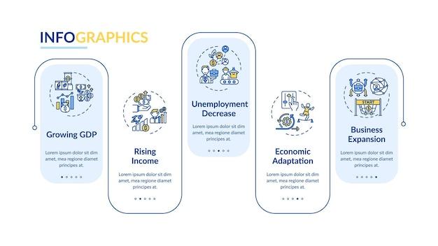 Modello di infografica del prodotto interno lordo in crescita. elementi di design di presentazione di manodopera e merci. visualizzazione dei dati con 5 passaggi. elaborare il grafico della sequenza temporale. layout del flusso di lavoro con icone lineari