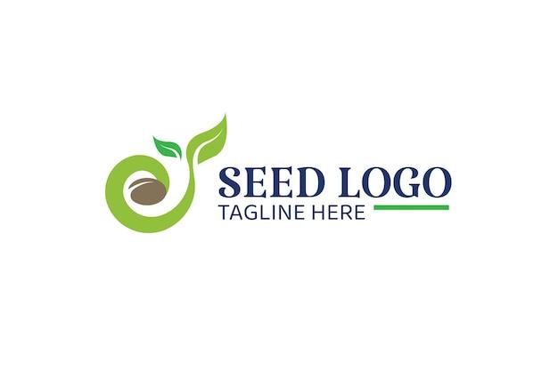 Modello di progettazione del logo del seme in crescita. adatto per coltivazioni di grano, raccolto naturale, ecc