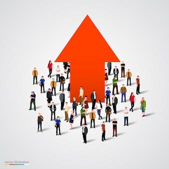 Grafico di crescita e progresso nella folla di persone