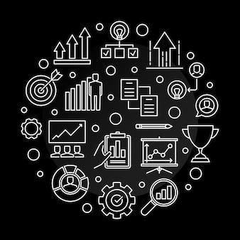 Illustrazione rotonda dell'icona del profilo della società di crescita