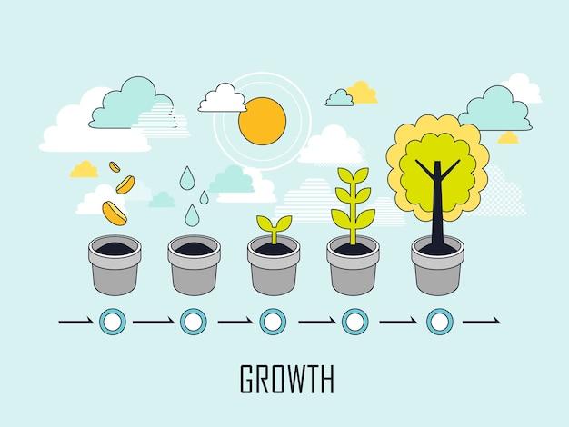 Concetto di crescita: il processo di crescita di un albero in stile linea