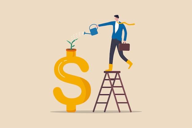 Investimento per la crescita, risparmio e prosperità finanziaria, aumento di denaro o profitto dal concetto di business in crescita, germoglio di irrigazione dell'investitore di uomo d'affari o pianta di piantina che cresce dal segno del dollaro dorato.