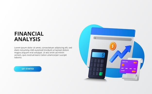 Crescita economia di mercato, analisi e revisione contabile del concetto di business finanziario. calcolatrice 3d, moneta, carta di credito per modello di pagina di destinazione