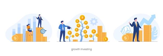 Investimento di denaro in crescita, concetto di reddito passivo, investimento, illustrazione vettoriale piatta per banner