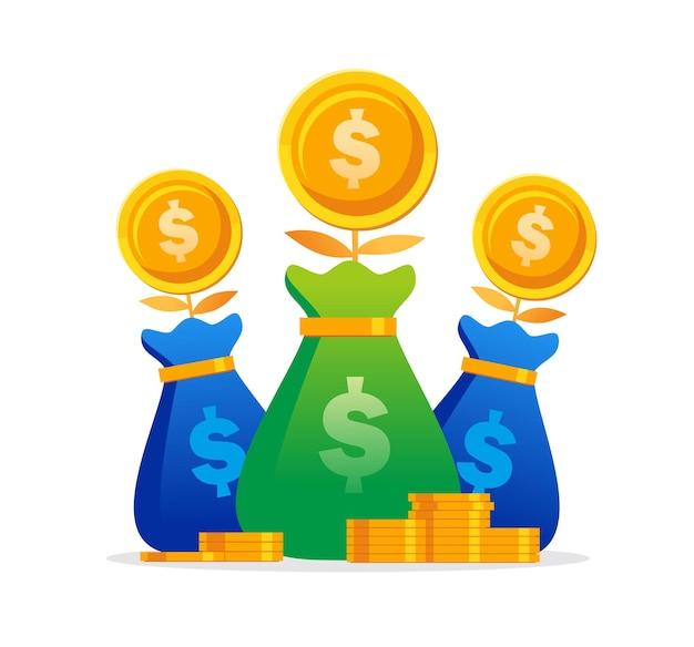 Insegna piana dell'illustrazione di vettore di concetto di risparmio e investimento di denaro di crescita per la pagina di destinazione