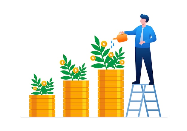 Investimento dei soldi di crescita e illustrazione piana di vettore di concetto di risparmio