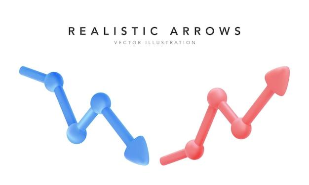 Frecce rosse e blu di progresso di crescita. illustrazione