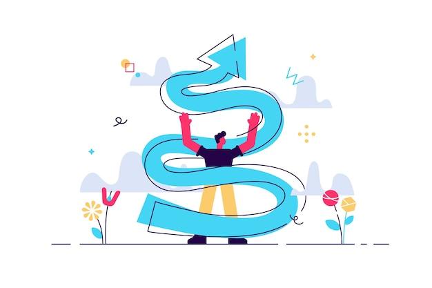 Illustrazione a spirale di crescita. concetto di persone minuscole di sviluppo aziendale.
