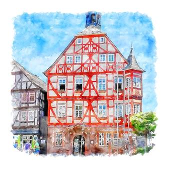 Illustrazione disegnata a mano di schizzo dell'acquerello della germania di grunberg hessen