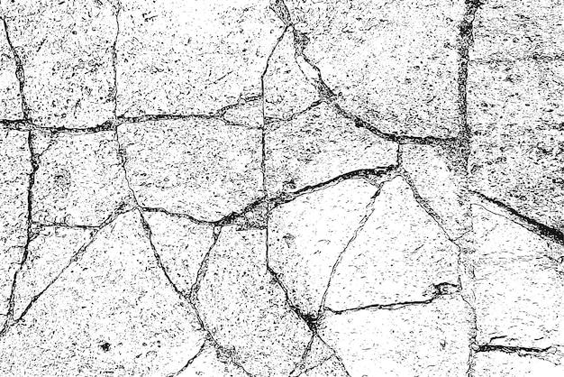Fondo di lerciume in bianco e nero. trama monocromatica. modello vettoriale di crepe, scheggiature, graffi. superficie astratta vintage