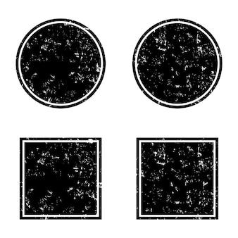 Cornici rotonde e quadrate nere di lerciume, bandiere di emergenza