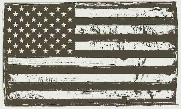 Bandiera americana in bianco e nero di grunge