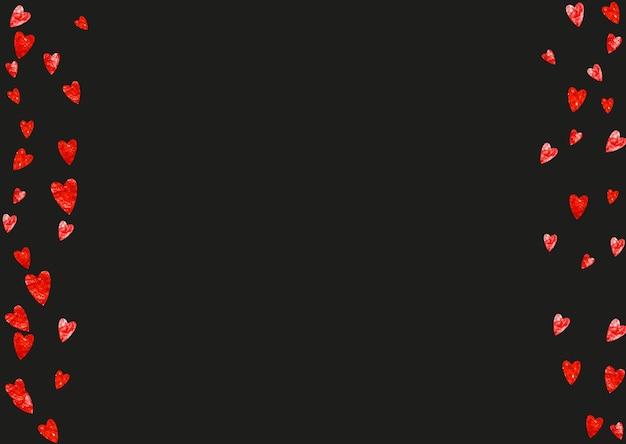 Sfondo cuore grunge per san valentino con glitter rosso. 14 febbraio giorno. coriandoli di vettore per priorità bassa del cuore del grunge. trama disegnata a mano. tema d'amore per buoni regalo, buoni, annunci, eventi.