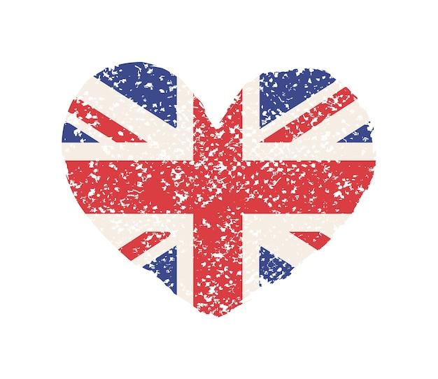 Forma di cuore grunge con bandiera britannica