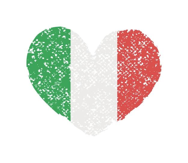 Forma di cuore grunge con bandiera italiana