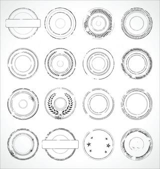 Vettore in bianco e nero degli autoadesivi di carta rotondi di lerciume