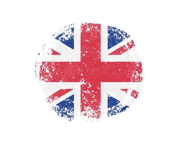 Forma rotonda grunge con bandiera britannica