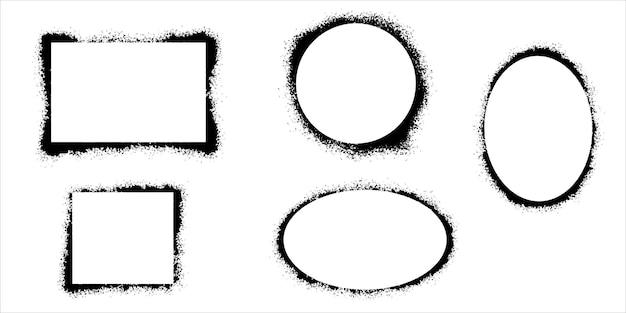 Cornici per stencil grunge. cornice verniciata a spruzzo, trama di schizzi di inchiostro e bordo di stencil. illustrazione vettoriale.
