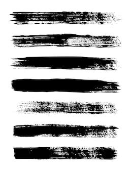 Strisce di lerciume. set di pennelli per inchiostro vettoriale. texture sporche per striscioni, scatole, cornici, motivi, stampe ed elementi di design. linee nere isolate su sfondo bianco